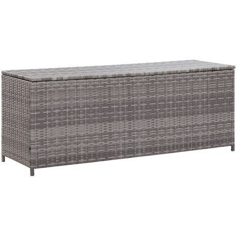 Garden Storage Box Grey 150x50x60 cm Poly Rattan - Grey