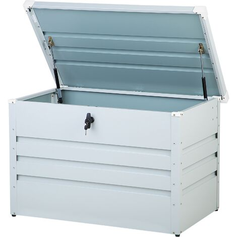 Garden Storage Box Light Grey Steel Lockable Lid 300L Cebrosa