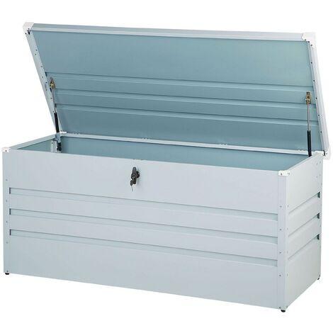 Garden Storage Box Light Grey Steel Lockable Lid 400L Cebrosa
