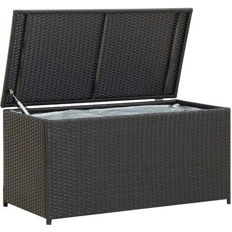 Garden Storage Box Poly Rattan 100x50x50 cm Black