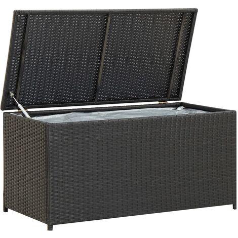 Garden Storage Box Poly Rattan 100x50x50 cm Black - Black