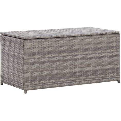 Garden Storage Box Poly Rattan 100x50x50 cm Grey - Grey