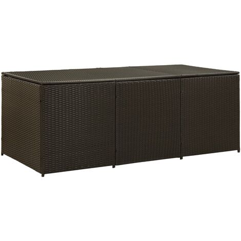 Garden Storage Box Poly Rattan 180x90x75 cm Brown