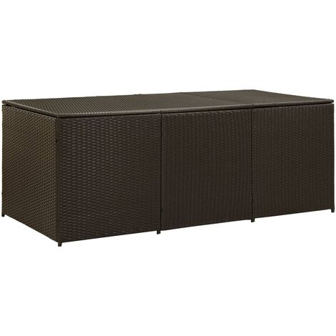 Garden Storage Box Poly Rattan 180x90x75 cm Brown - Brown