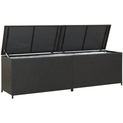 Garden Storage Box Poly Rattan 200x50x60 cm Black