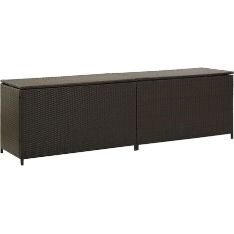 Garden Storage Box Poly Rattan 200x50x60 cm Brown