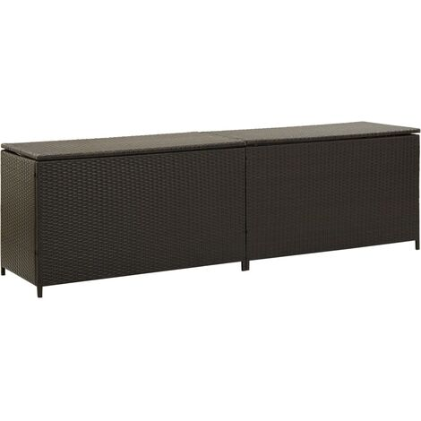 Garden Storage Box Poly Rattan 200x50x60 cm Brown - Brown
