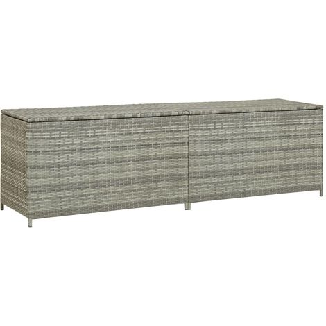 Garden Storage Box Poly Rattan 200x50x60 cm Grey