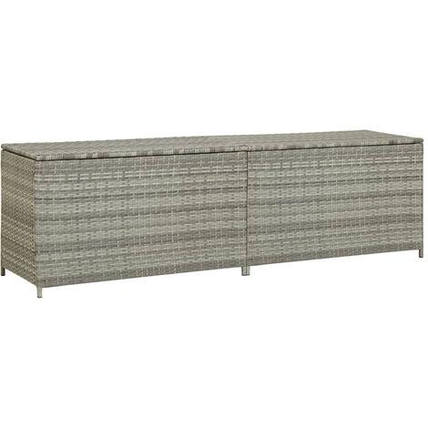 Garden Storage Box Poly Rattan 200x50x60 cm Grey