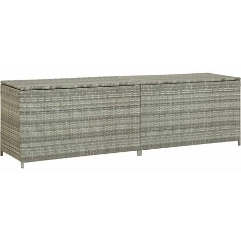 Garden Storage Box Poly Rattan 200x50x60 cm Grey - Grey
