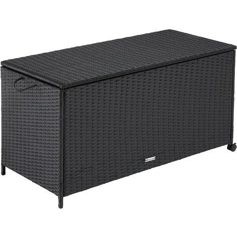 Garden storage box - rattan with aluminium frame - outdoor storage box, garden storage bench, rattan storage box - black - schwarz