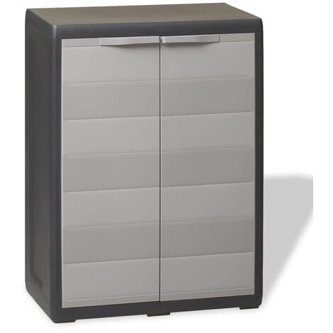 Garden Storage Cabinet with 1 Shelf Black and Grey