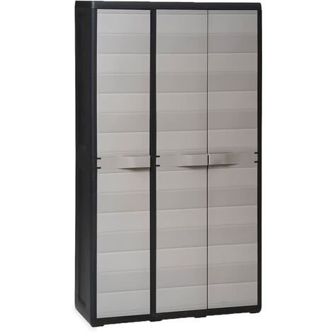 Garden Storage Cabinet with 3 Shelves Black and Grey