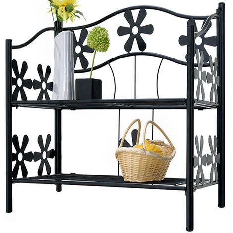 Garden Storage Metal Shelf Kitchen Terrace Balcony Patio Outdoor Rack 50-112-cm