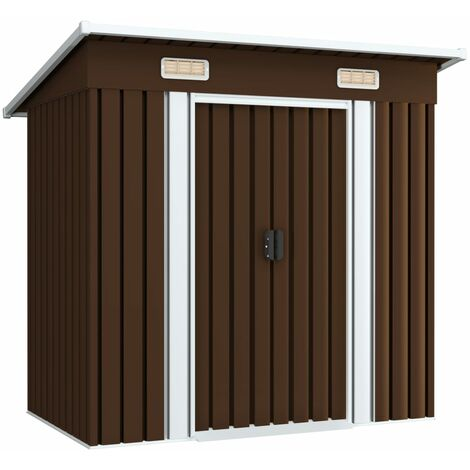 Garden Storage Shed Brown 194x121x181 cm Steel