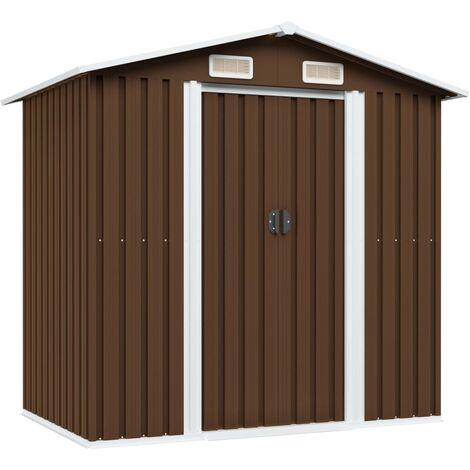 Garden Storage Shed Brown 204x132x186 cm Steel - Brown