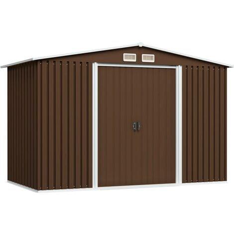Garden Storage Shed Brown 257x205x178 cm Steel