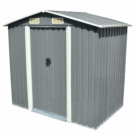 """main image of """"Garden Storage Shed Grey Metal 204x132x186 cm30569-Serial number"""""""