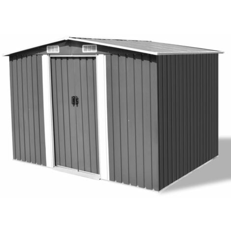 "main image of ""Garden Storage Shed Grey Metal 257x205x178 cm - Grey"""