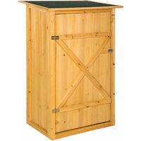 Garden storage shed with a flat roof - small shed, tool shed, log shed - brown