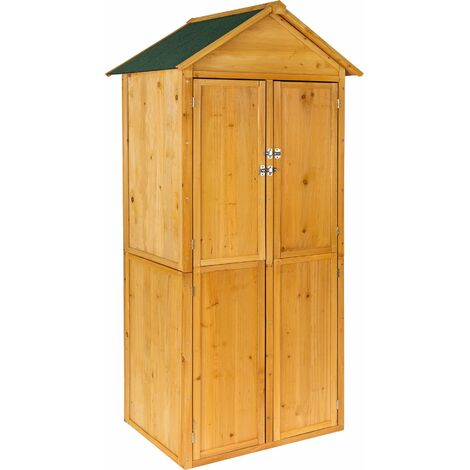 Garden storage shed with a pitched roof - small shed, tool shed, log shed - brown - brown