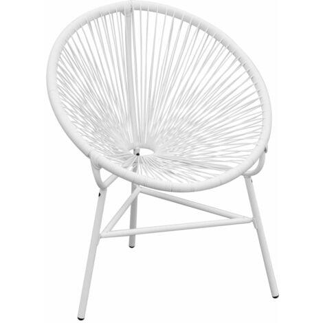 Garden String Moon Chair Poly Rattan White
