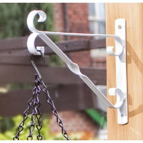 "Garden Strong Hanging Basket Bracket SupaGarden - 30cm/12"" - White"