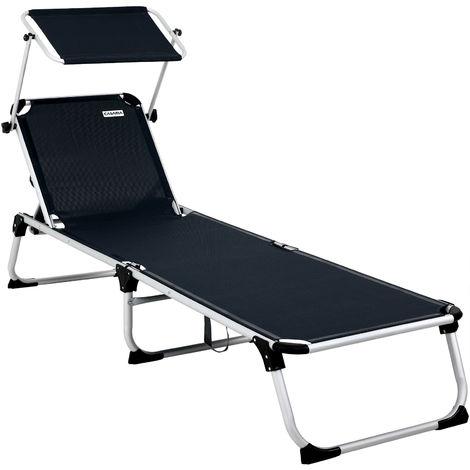 Garden Sun Lounger 210cm Beach Outdoor Patio Balcony Sun Shade Day Bed Folding