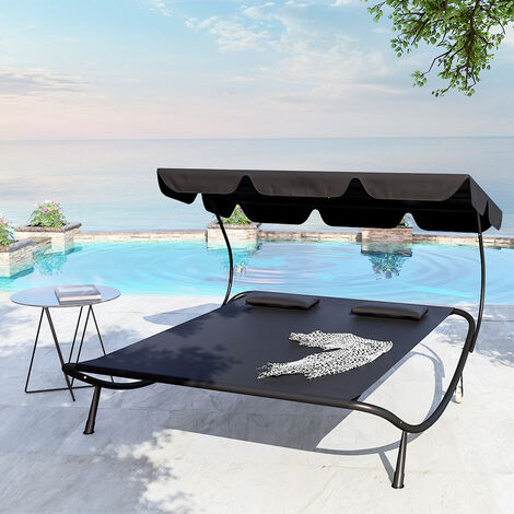 Garden sun lounger double - double sun lounger, garden sunbed, sun lounge bed - Black
