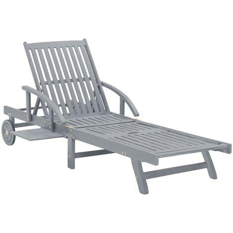 Garden Sun Lounger Grey Solid Acacia Wood - Grey