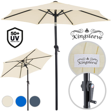 Garden Sun Parasol 2m Aluminium UV40+ Patio Umbrella Canopy Shade Crank Handle