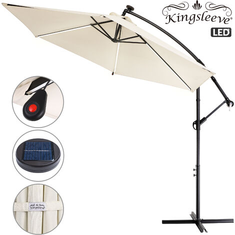 Garden Sun Parasol Aluminium 32 LED Cantilever Umbrella Lighting Solar 330cm