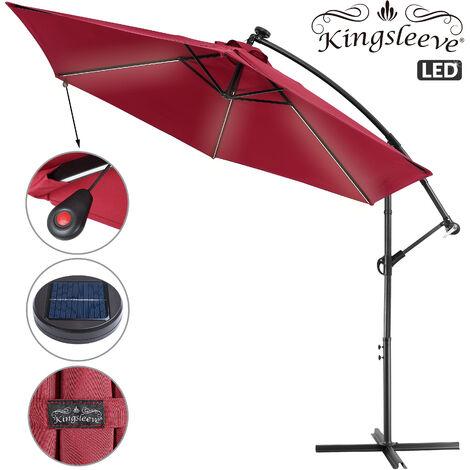 Garden Sun Parasol Aluminium 32 LED Cantilever Umbrella Lighting Solar 330cm