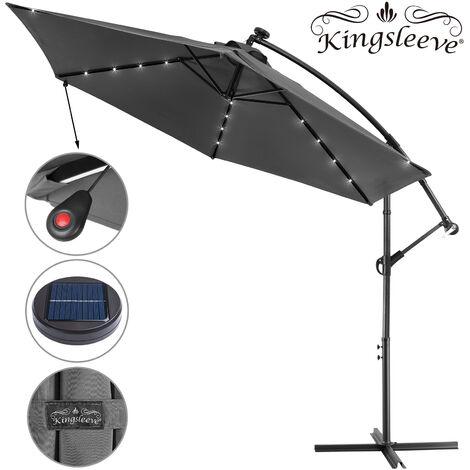 "main image of ""Garden Sun Parasol LED Ø300cm Hanging Umbrella Banana Cantilever Lights Patio"""