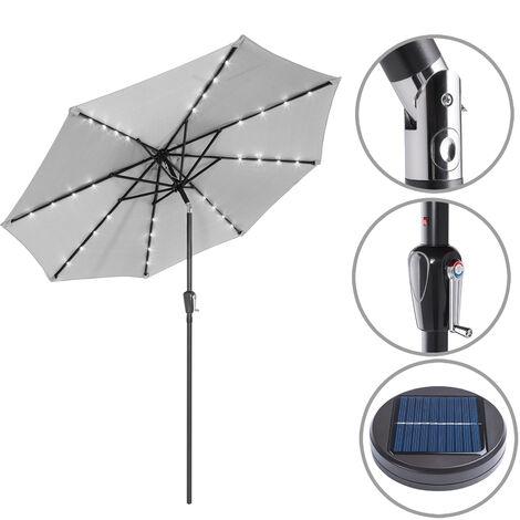 Garden Sun Parasol Patio 24 LED Aluminium Crank Solar 270cm Balcony Cafe Bistro
