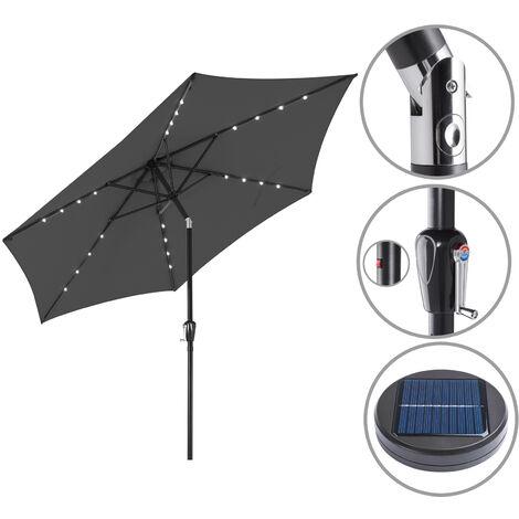 "main image of ""Garden Sun Parasol Patio 24 LED Aluminium Crank Solar 270cm Balcony Cafe Bistro"""