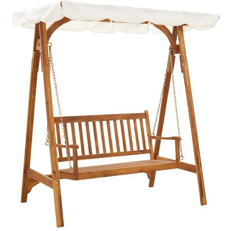 Garden Swing Bench with Canopy Solid Acacia Wood - Brown