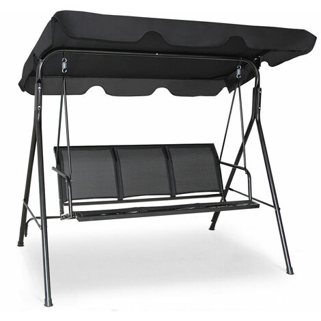 "main image of ""Garden Swing Chair 3 Seater Hammock Patio Outdoor Sunshade W/ Adjustable Canopy"""