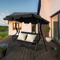 Garden Swing Chair 3 Seater Patio Canopy Hammock Cushioned Bench Lounger Black