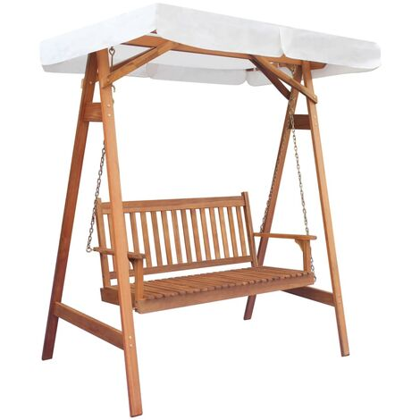 Garden Swing Chair with Canopy Eucalyptus Acacia Wood