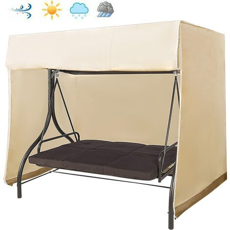 Garden swing cover waterproof sunshade furniture cover coffee and Beige