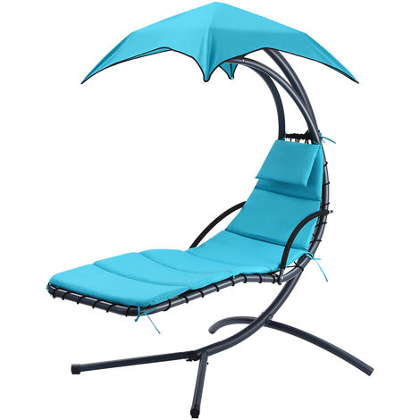 Garden Swing Hammock Helicopter Hanging Chaise Sun Lounger Chair Cushioned Seat