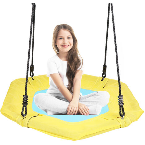 Garden Swing Seat Height Adjustable Rope Kids Climbing Frame UFO Disc Crows Nest