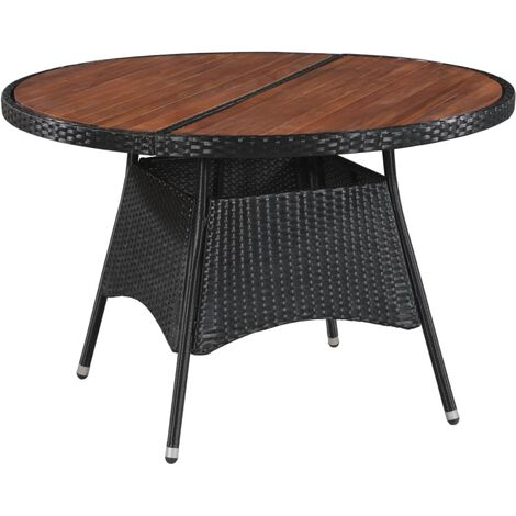 Garden Table 115x74 cm Poly Rattan and Solid Acacia Wood - Black