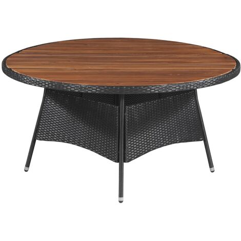 Garden Table 150x74 cm Poly Rattan and Solid Acacia Wood