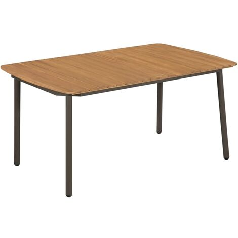 Garden Table 150x90x72cm Solid Acacia Wood and Steel - Brown