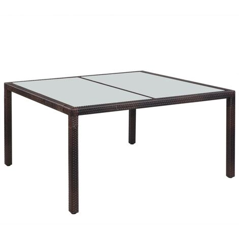 Garden Table 150x90x75 cm Brown Poly Rattan and Glass