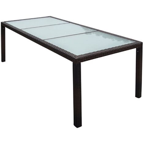 Garden Table 190x90x75 cm Brown Poly Rattan and Glass