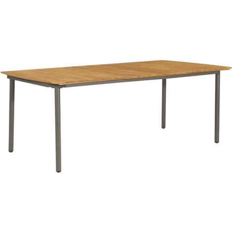Garden Table 200x100x72cm Solid Acacia Wood and Steel - Brown