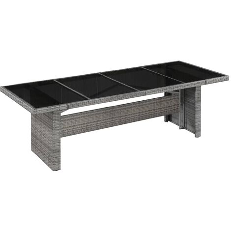 Garden Table 240x90x74 cm Poly Rattan and Glass - Grey